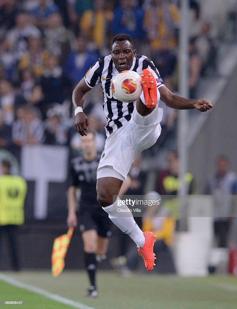 Kwadwo Asamoah of Juventus in action during the UEFA Europa League quarter final match between Juventus and Olympique Lyonnais at Juventus Arena on April 10, 2014 in Turin, Italy.