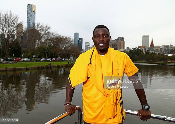 Kwadwo Asamoah poses during a Juventus boat ride along the Yarra River on July 19 2016 in Melbourne Australia