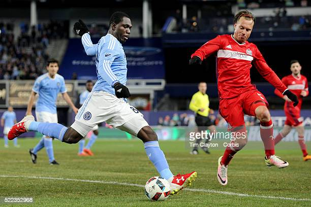 Kwadwo Poku NYCFC has his shot blocked by Michael Harrington Chicago Fire during the New York City FC Vs Chicago Fire MLS regular season match at...