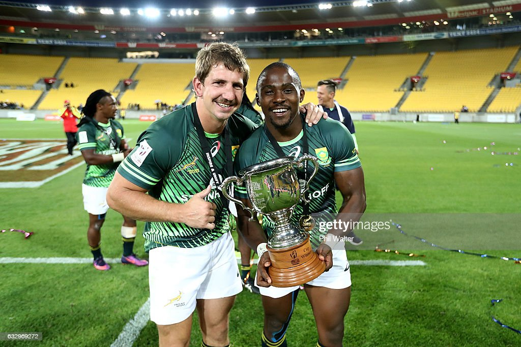 Kwagga Smith (L) and Siviwe Soyizwapi (R) of South Africa celebrate following the gold medal final match between Fiji and South Africa during the 2017 Wellington Sevens at Westpac Stadium on January 29, 2017 in Wellington, New Zealand.