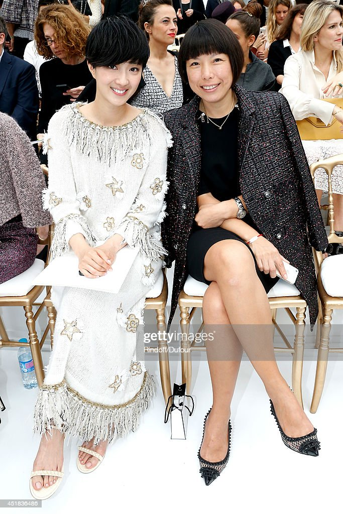 Kwai LunMei and Angelica Cheung attend the Chanel show as part of Paris Fashion Week Haute Couture Fall/Winter 20142015 Held at Grand Palais on July...