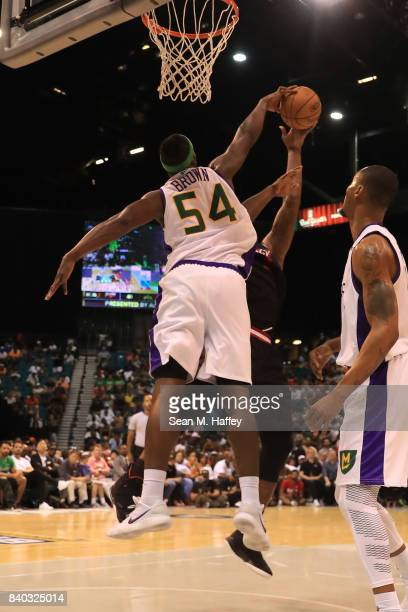 Kwame Brown of 3 Headed Monsters during the BIG3 three on three basketball league championship game on August 26 2017 in Las Vegas Nevada