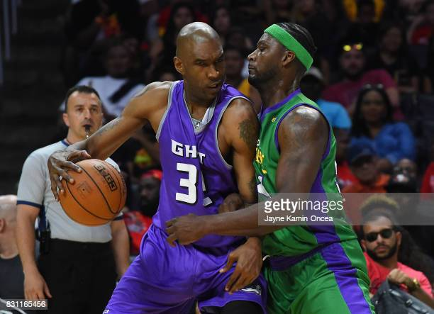 Kwame Brown of the 3 Headed Monsters guards Joe Smith of Ghost Ballers during the BIG3 game at Staples Center on August 13 2017 in Los Angeles...