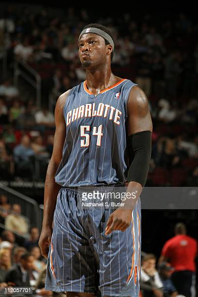 Kwame Brown of the Charlotte Bobcats looks on against the New Jersey Nets during a game on April 11 2011 at the Prudential Center in Newark New...