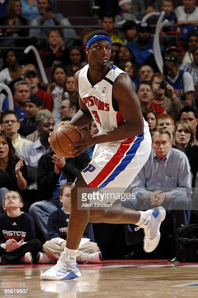 Kwame Brown of the Detroit Pistons looks to make a move during the game against the Memphis Grizzlies at the Palace of Auburn Hills on March 15 2009...