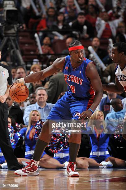 Kwame Brown of the Detroit Pistons posts up against the Philadelphia 76ers during the game on December 9 2009 at Wachovia Center in Philadelphia...