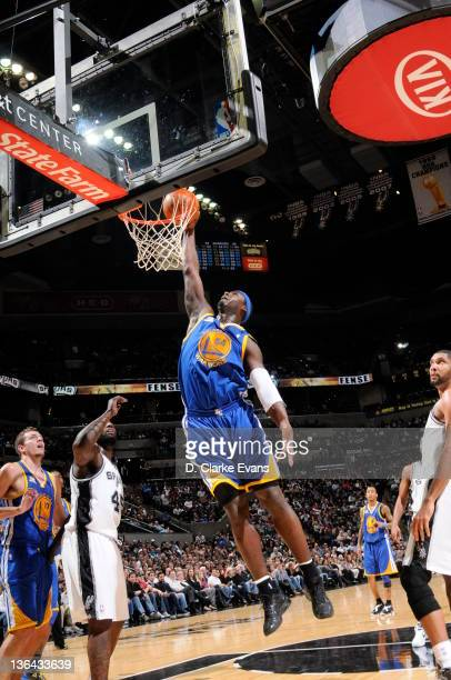 Kwame Brown of the Golden State Warriors dunks the ball during the game between the Golden State Warriors and San Antonio Spurs at the ATT Center on...