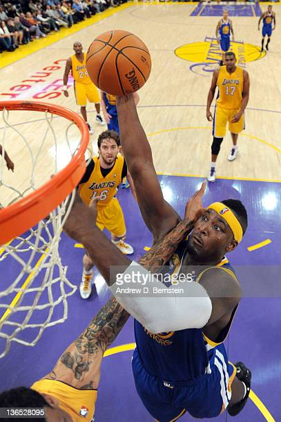 Kwame Brown of the Golden State Warriors goes to the basket during the game against the Los Angeles Lakers at Staples Center on January 6 2012 in Los...