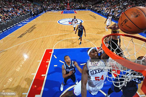 Kwame Brown of the Philadelphia 76ers goes in for the dunk against the Dallas Mavericks at the Wells Fargo Center on November 27 2012 in Philadelphia...