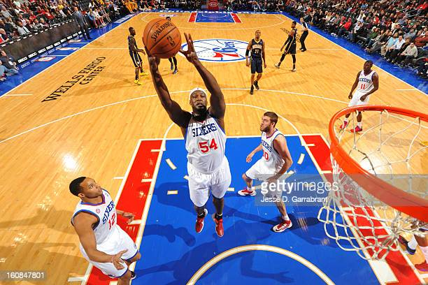 Kwame Brown of the Philadelphia 76ers grabs a rebound against the Indiana Pacers during the game at the Wells Fargo Center on February 6 2013 in...