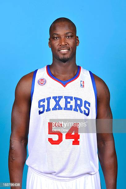 Kwame Brown of the Philadelphia 76ers poses for a photo during NBA Media Day on October 1 2012 at the Philadelphia College of Osteopathic Medicine in...