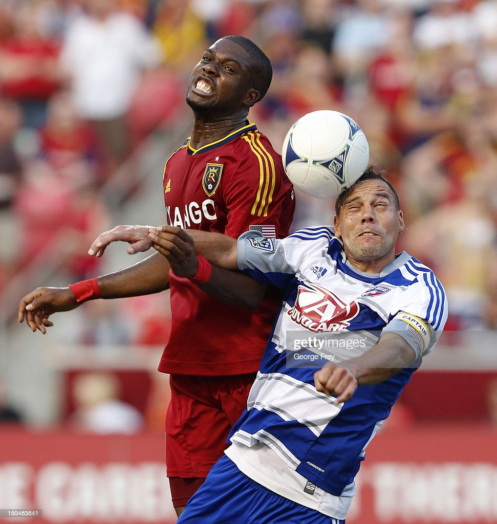 Kwame Watson-Siriboe #3 of Real Salt Lake <a gi-track='captionPersonalityLinkClicked' href=/galleries/search?phrase=Daniel+Hernandez&family=editorial&specificpeople=2157363 ng-click='$event.stopPropagation()'>Daniel Hernandez</a> #2 of FC Dallas fight for a head ball during the first half of an MLS soccer game August 18, 2012 at Rio Tinto Stadium in Sandy, Utah.