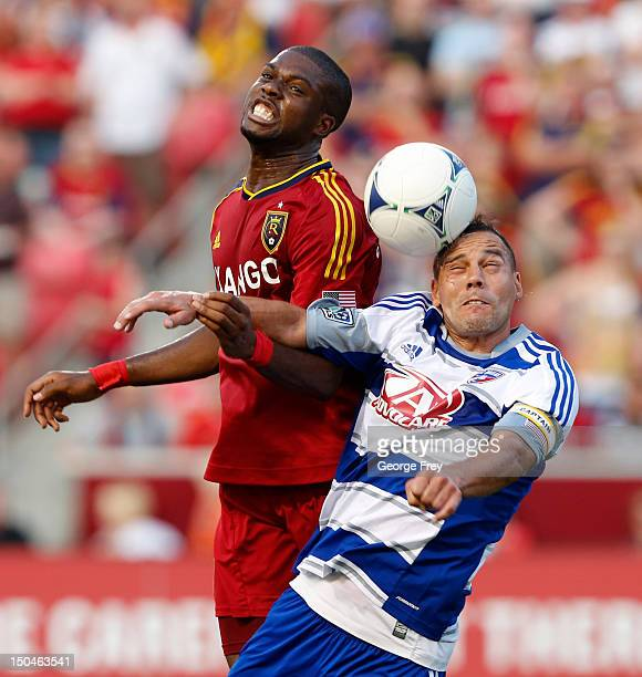 Kwame WatsonSiriboe of Real Salt Lake Daniel Hernandez of FC Dallas fight for a head ball during the first half of an MLS soccer game August 18 2012...