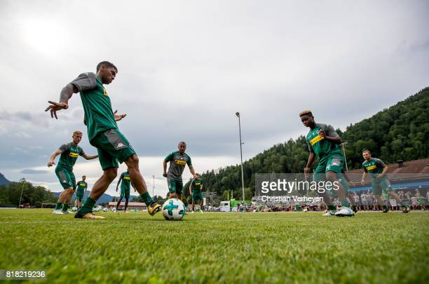 Kwame Yeboah and BaMuaka Simakala during a training session at the Training Camp of Borussia Moenchengladbach on July 18 2017 in RottachEgern Germany