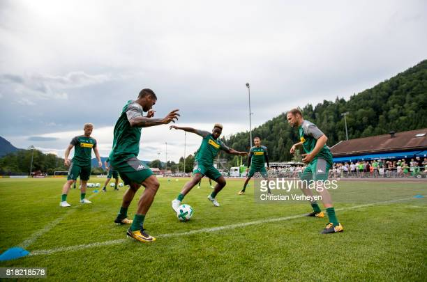 Kwame Yeboah BaMuaka Simakala and Tony Jantschke during a training session at the Training Camp of Borussia Moenchengladbach on July 18 2017 in...