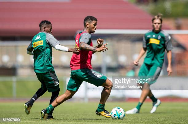 Kwame Yeboah is chased by Ibrahima Traore during a training session at the Training Camp of Borussia Moenchengladbach on July 18 2017 in RottachEgern...