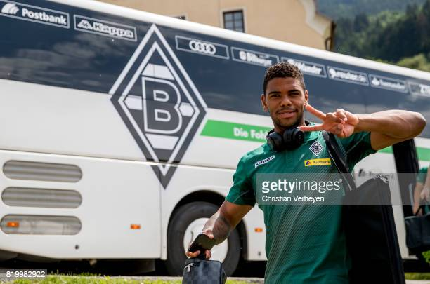 Kwame Yeboah of Borussia Moenchengladbach ahead of a friendly match between Borussia Moenchengladbach and Leeds United at Silberstadt Arena on July...
