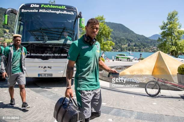 Kwame Yeboah of Borussia Moenchengladbach arrive at the Training Camp of Borussia Moenchengladbach on July 17 2017 in RottachEgern Germany
