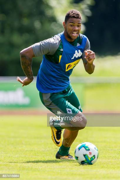 Kwame Yeboah of Borussia Moenchengladbach controls the ball during a training session at the Training Camp of Borussia Moenchengladbach on July 19...
