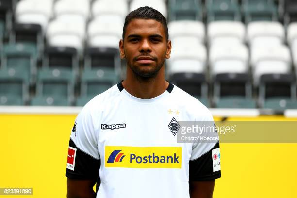 Kwame Yeboah of Borussia Moenchengladbach poses during the team presentation at Borussia Park on July 28 2017 in Moenchengladbach Germany