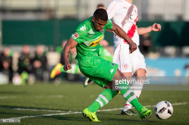 Kwame Yeboah of Borussia Moenchengladbach scores his teams third goal during the Friendly Match between Borussia Moenchengladbach and FC Sankt Pauli...