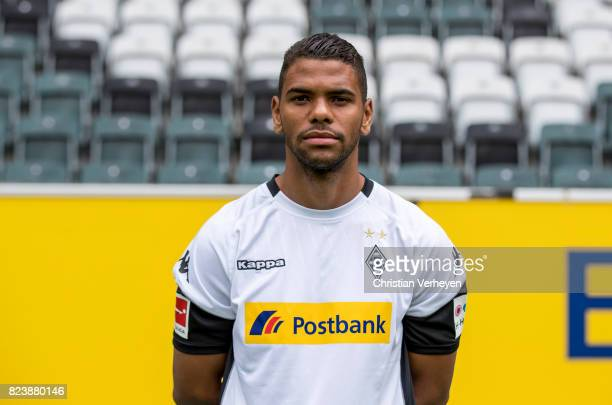 Kwame Yeboah pose during the team presentation of Borussia Moenchengladbach at BorussiaPark on July 28 2017 in Moenchengladbach Germany
