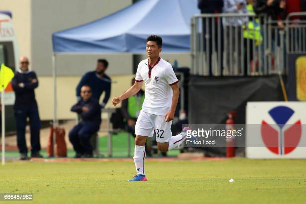 Kwan Song Han of Cagliari celebrates his goal 23 during the Serie A match between Cagliari Calcio and FC Torino at Stadio Sant'Elia on April 9 2017...