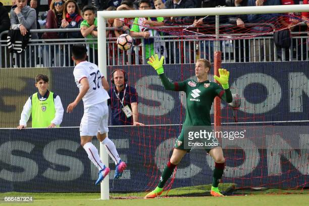Kwan Song Han of Cagliari scores his goal 23 during the Serie A match between Cagliari Calcio and FC Torino at Stadio Sant'Elia on April 9 2017 in...