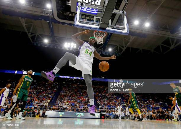 Kwane Brown of the 3 Headed Monsters dunks the ball during the game against the Ball Hogs during week seven of the BIG3 three on three basketball...