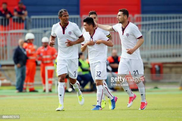 Kwang Song Han of Cagliari celebrates his goal 23 during the Serie A match between Cagliari Calcio and FC Torino at Stadio Sant'Elia on April 9 2017...