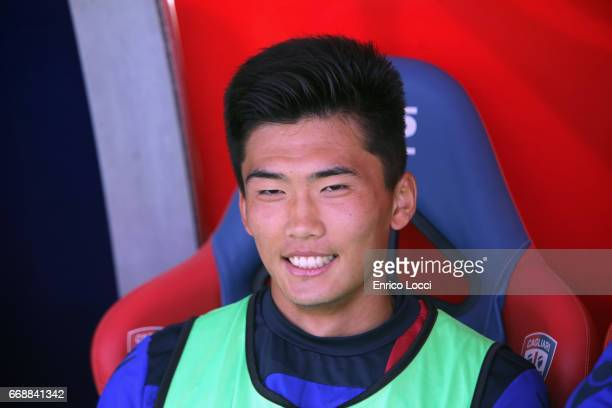 Kwang Song Han of Cagliari look on during the Serie A match between Cagliari Calcio and AC ChievoVerona at Stadio Sant'Elia on April 15 2017 in...