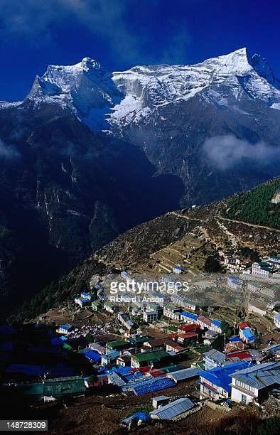 Kwangde peaks overlooking Sherpa village Namche Bazaar.