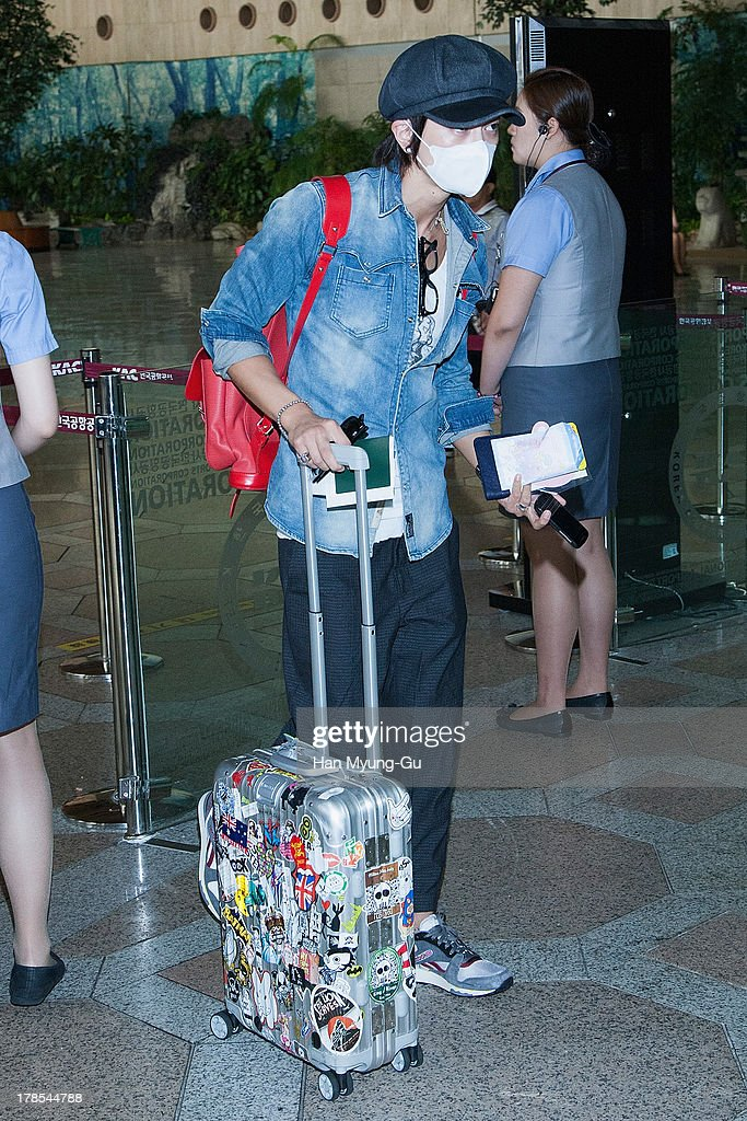 Kwangsoo of South Korean boy band Choshinsung is seen on departure at Gimpo International Airport on August 30, 2013 in Seoul, South Korea.