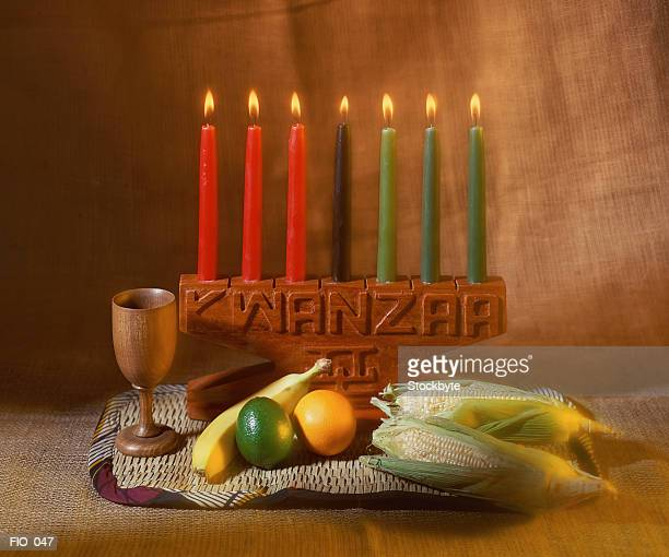 Kwanzaa candles and food