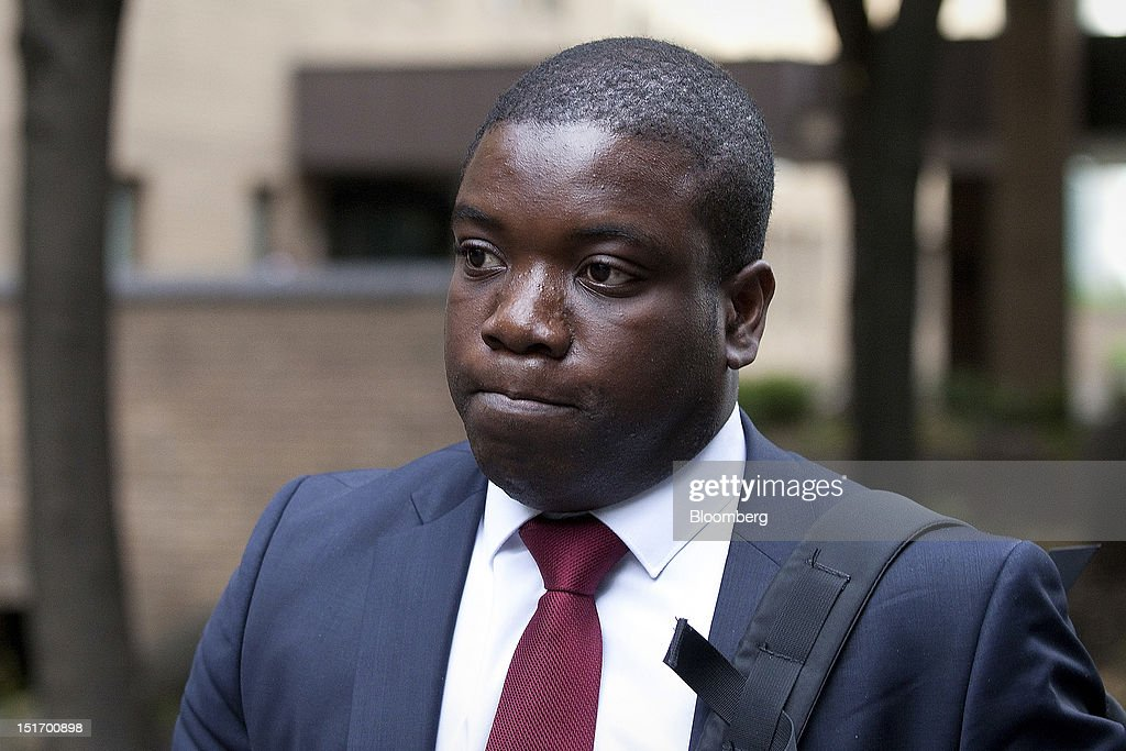 <a gi-track='captionPersonalityLinkClicked' href=/galleries/search?phrase=Kweku+Adoboli&family=editorial&specificpeople=8256036 ng-click='$event.stopPropagation()'>Kweku Adoboli</a>, a former UBS trader, leaves after appearing at Southwark Crown Court in London, U.K., on Monday, Sept. 10, 2012. Adoboli's trial on charges of fraud and false accounting, tied to alleged unauthorized trades that caused losses of $2.3 billion at UBS AG, was delayed until Sept. 14. Photographer: Simon Dawson/Bloomberg via Getty Images