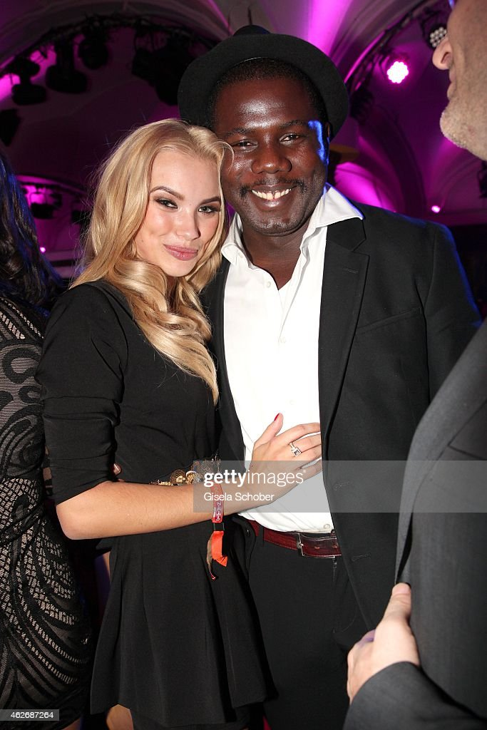 Kweku Mandela, grandson of Nelson Mandela, Anastasia Plewka, Model during the Lambertz Monday Night 2015 at Alter Wartesaal on February 2, 2015 in Cologne, Germany.