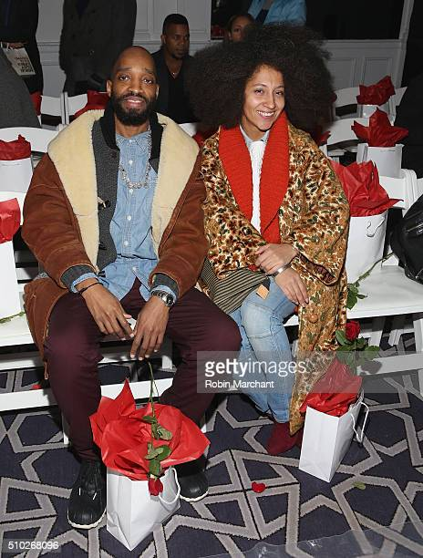 Kwesi F and Tessa 'Afroista' JohnConnor attend Ydamys Simo JY Leather Creations Front Row during Fall 2016 New York Fashion Week on February 14 2016...