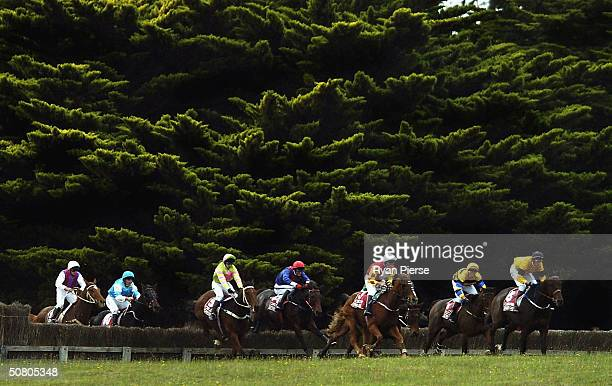 Kwila's Quest ridden by Nathan Dunn leads the field before winnning the Warrnambool Grand Annual Steeplechase during the Warrnambool Grand Annual...