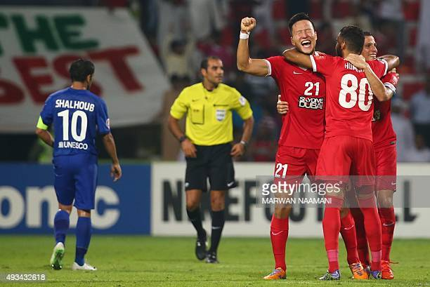 Kwon KyungWon of UAE's AlAhli celebrates at the end of the AFC Champions League semi final football match against Saudi's AlHilal on October 20 2015...
