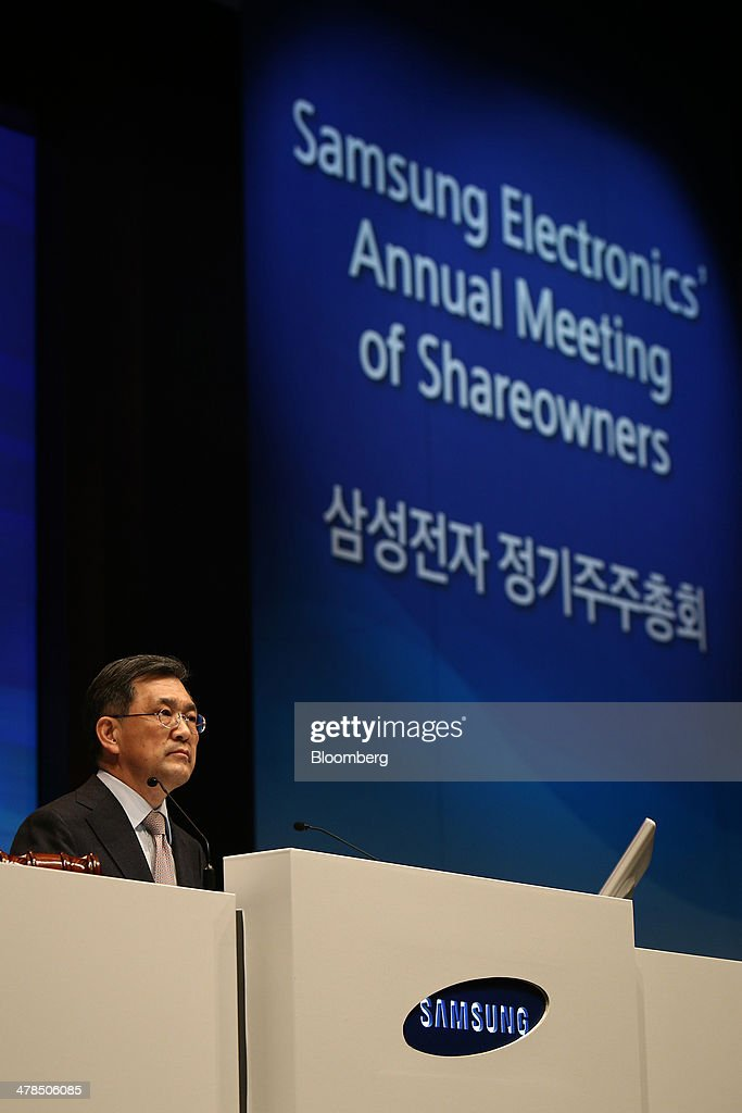 Kwon Oh Hyun vice chairman and chief executive officer of Samsung Electronics Co speaks during the company's annual shareholders' meeting at the its...