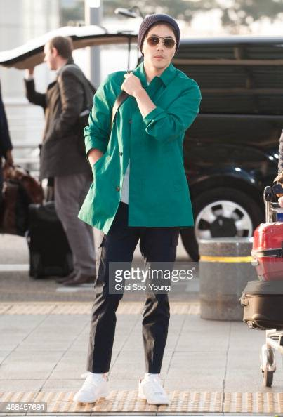 Kwon SangWoo is seen at Incheon International Airport on February 7 2014 in Incheon South Korea