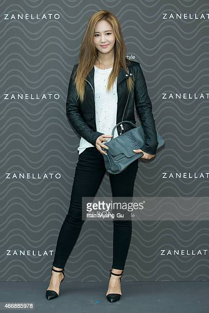 Kwon YuRi bag detail of South Korean girl group Girls' Generation attends the photocall for 'ZANELLATO' at ELBON the style on March 19 2015 in Seoul...