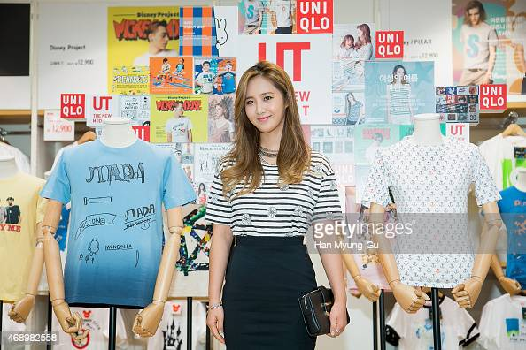 Kwon YuRi bag detail of South Korean girl group Girls' Generation attends the UNIQLO UT Store Opening Photocall on April 9 2015 in Seoul South Korea