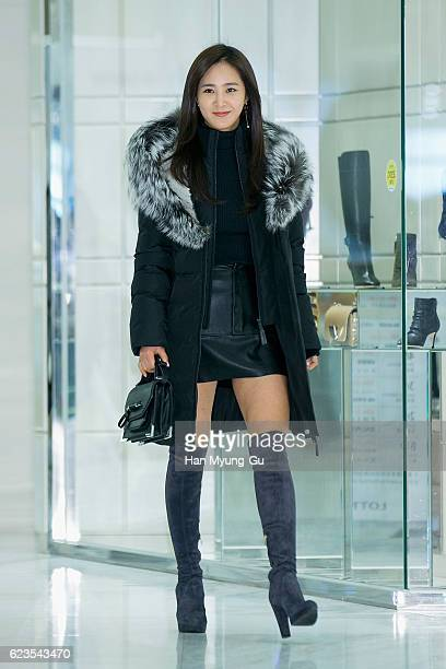 Kwon YuRi of Girls' Generation attend the photocall for 'Mackage' KStar Launch at the Lotte Department Store on November 15 2016 in Seoul South Korea
