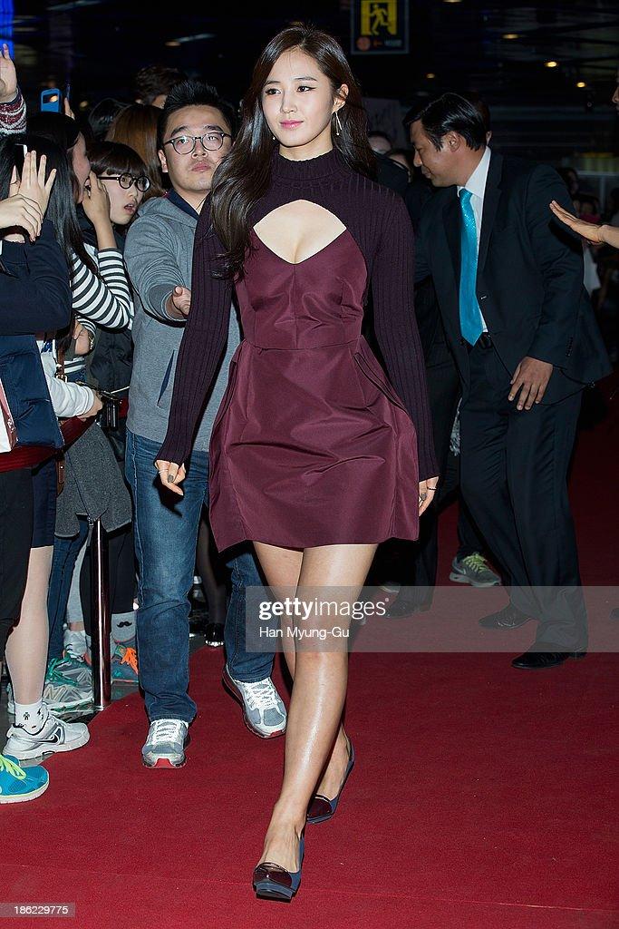 Kwon YuRi of South Korean girl group Girls' Generation attends 'No Breathing' VIP Screening at COEX Mega Box on October 25 2013 in Seoul South Korea