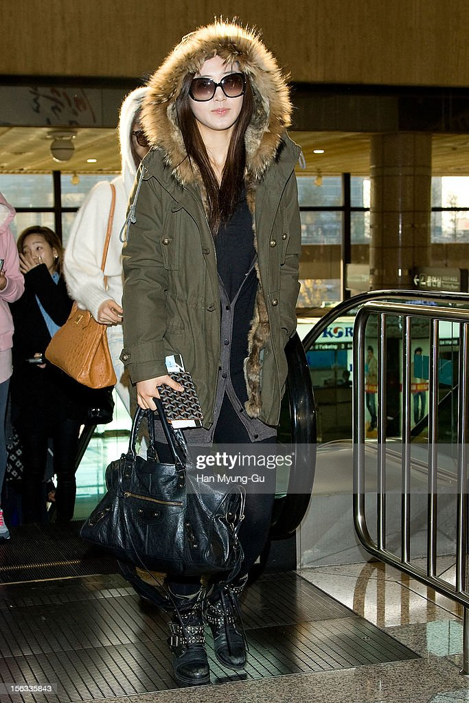 Kwon Yu-Ri (Yuri) of South Korean girl group Girls' Generation is seen at Gimpo International Airport on November 13, 2012 in Seoul, South Korea.