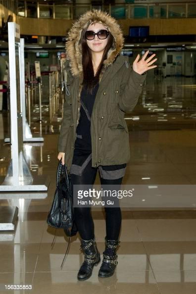 Kwon YuRi of South Korean girl group Girls' Generation is seen at Gimpo International Airport on November 13 2012 in Seoul South Korea