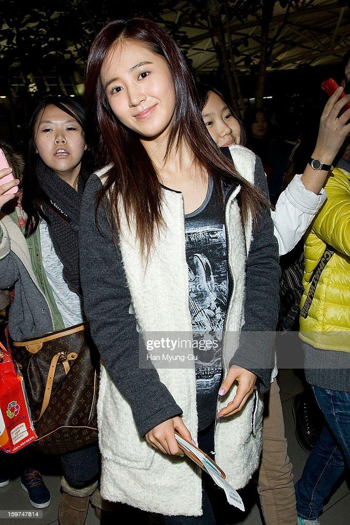 Kwon Yu-Ri (Yuri) of South Korean girl group Girls' Generation is seen at Incheon International Airport on January 19, 2013 in Incheon, South Korea.
