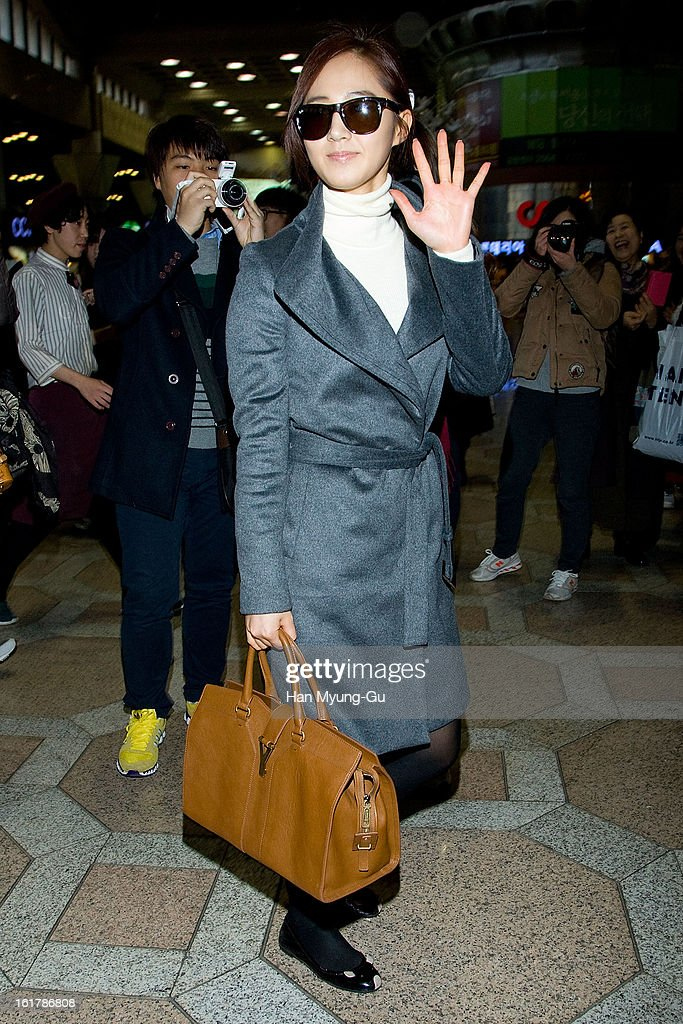 Kwon Yu-Ri (Yuri) of South Korean girl group Girls' Generation is seen at Gimpo International Airport on February 15, 2013 in Seoul, South Korea.