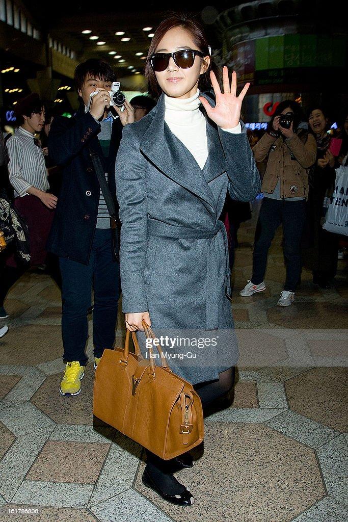 Kwon Yu-Ri (Yuri) of South Korean girl group Girls' Generation is seen at Gimpo International Airport on February 15, 2013 in Seoul, South Korea.
